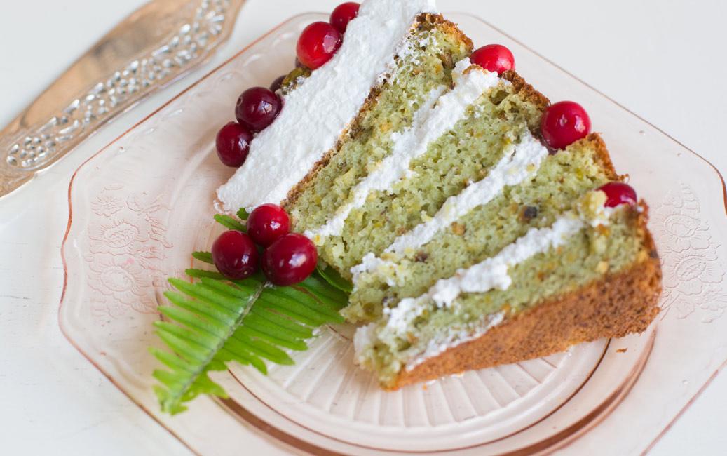 Pistachio Almond Cranberry Cake
