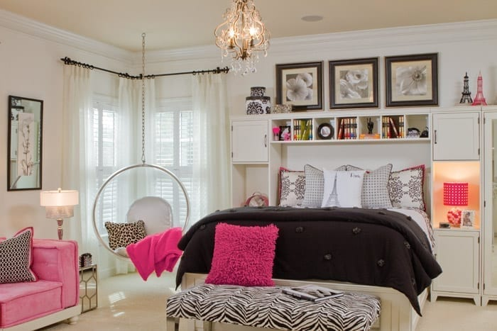 Teen girl bedroom design by Pineapple House Interior Design. Photography by Scott Moore Photography.