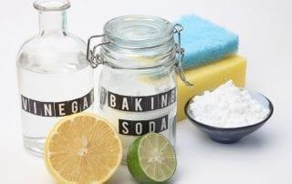 vinegar, baking soda, lemon, natural home cleaning products