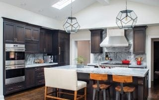Modern Kitchen design with honed white Carrara marble countertop