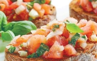 Bruschetta on Italian bread