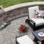 Brick pavers used to create a relaxing outdoor space for entertaining