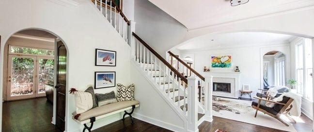 Elegant family room leading to staircase