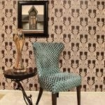 Home design and decor with 2014 trend - straight, clean lines in furniture and wall paper that is easy to install and remove