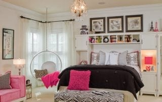 Girl bedroom design with pink accent color