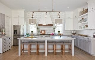 Modern white kitchen with a large island