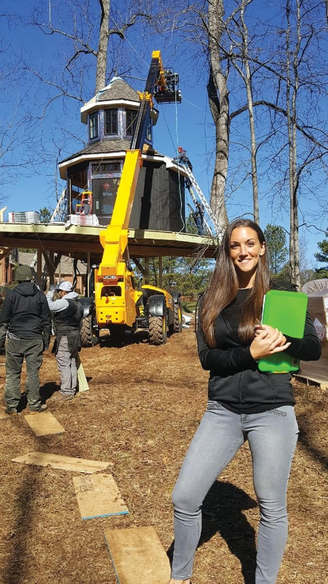 Laura Green of Green Basements & Remodeling at construction site