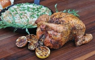 Delicious Tarragon Roasted Chicken with Buttered Leek-Parmesan Orzo - Kevin Rathbaun