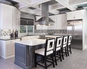 Black and White Modern Kitchen with Large Square Bar Stools