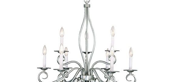 SHANDY 28.75-IN 9-LIGHT PEWTER CANDLE CHANDELIER