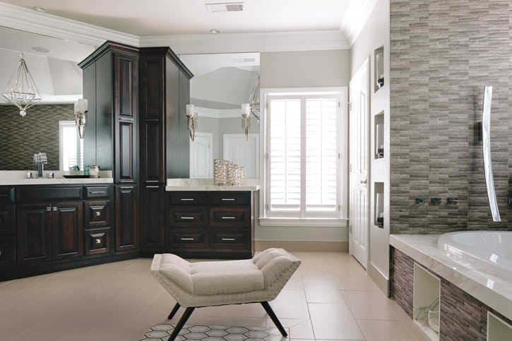 Modern bathroom design, Sandy Springs, GA with Neolith Calacatta countertops | Oneida Builders, Inc