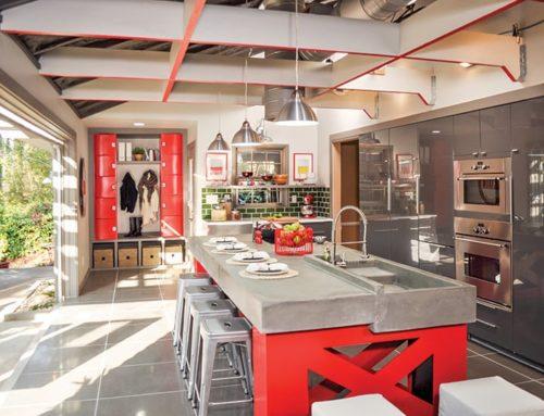 Dated Kitchen Goes Modern With A 16-feet Wide Garage Door