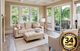 elegant living room with beautiful flooring by Enhance Floors