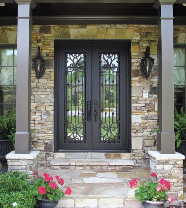 Hand Forged Wrought Iron Entry System with Full Lite glass by Jennifer's Glassworks