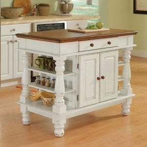 Americana Antiqued White Kitchen Island with shelves and cabinet for storage