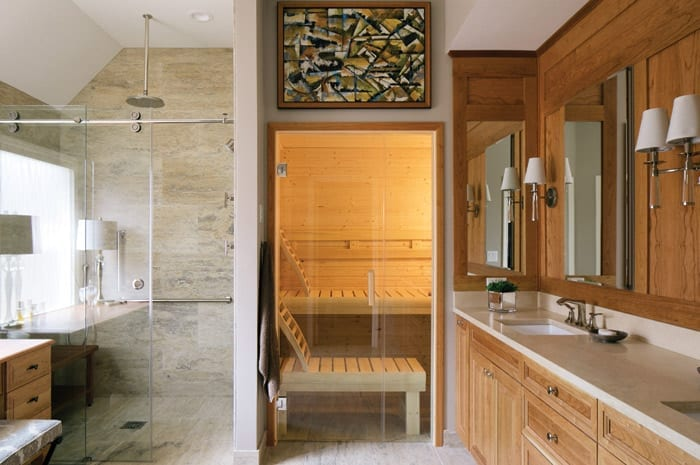 Bathroom design with curbless shower, sauna and rain showerhead