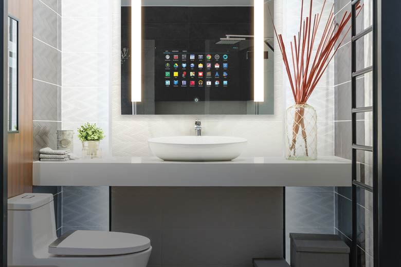 Bathroom with Electric Savvy Smart Mirror and vanity with a vessel sink