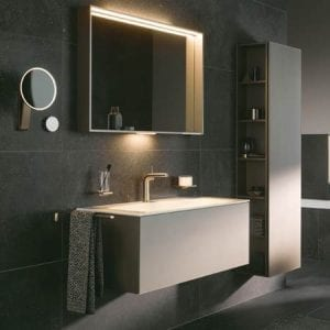 Bathroom with floating vanity, mirror and cabinet - Plan collection from KEUCO