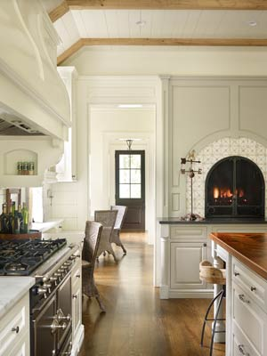 Farmhouse kitchen with builtin fireplace