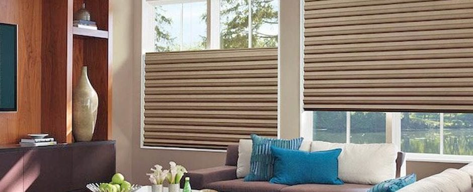 beautiful living room with motorized blinds