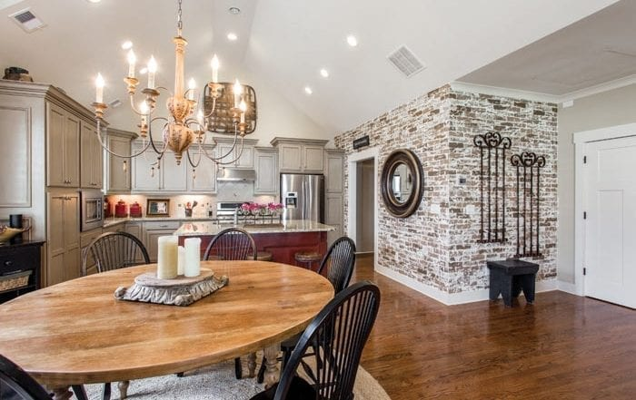 kitchen and dining room with Faux Brick