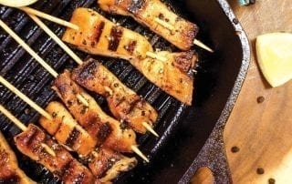 chicken kebabs grilling