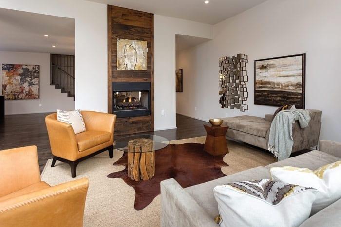 elegant basement with walk around fireplace