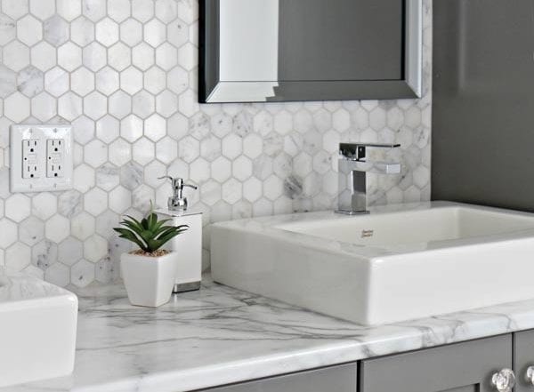 marble hex backsplash gray white