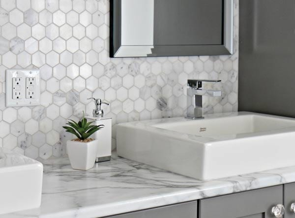 marble hex backsplash gray white