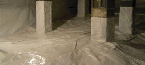 Crawlspace that has been waterproofed