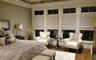 Beautiful bedroom with window blinds