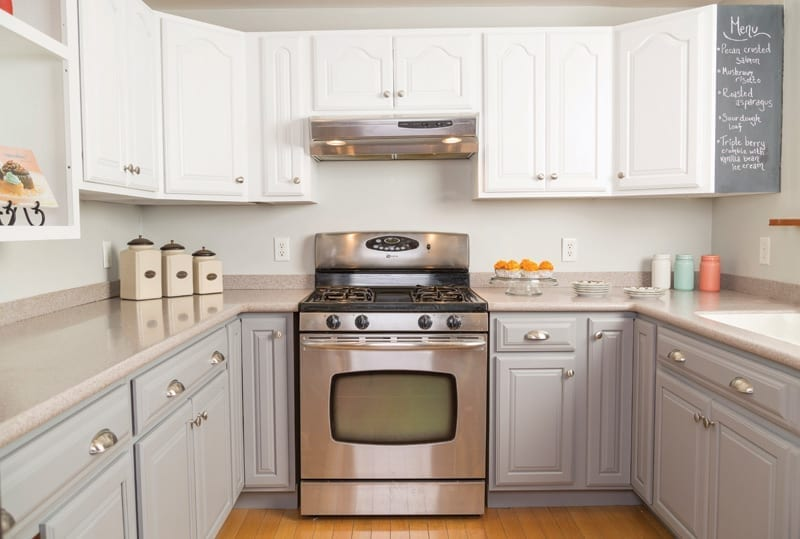 Small DIY kitchen remodel, white and gray cabinets
