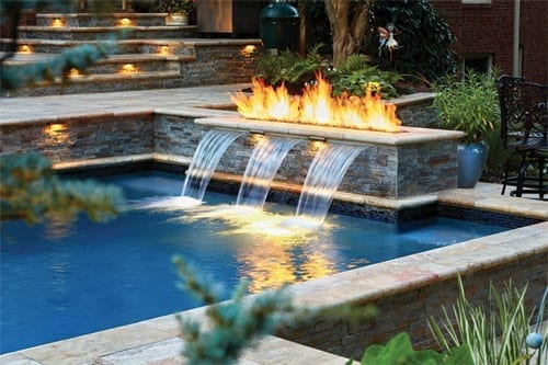 Pool with fire pit and water feature