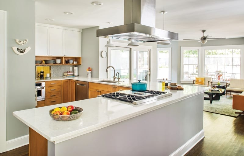 Kitchen remodel with Solna faucet by Brizo® and and Ann Sacks' Savoy collection in cottonwood backsplash