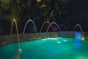 Pool with blue, red and purple magic streams