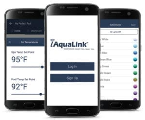 smart devices showing app to automate control of pool and spa