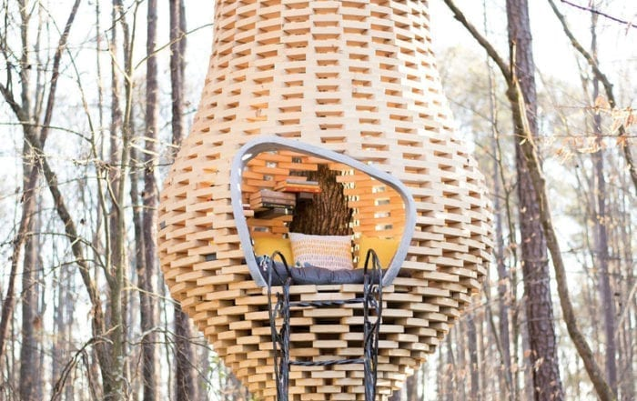 Floating reading pod built outside by Chip Wade