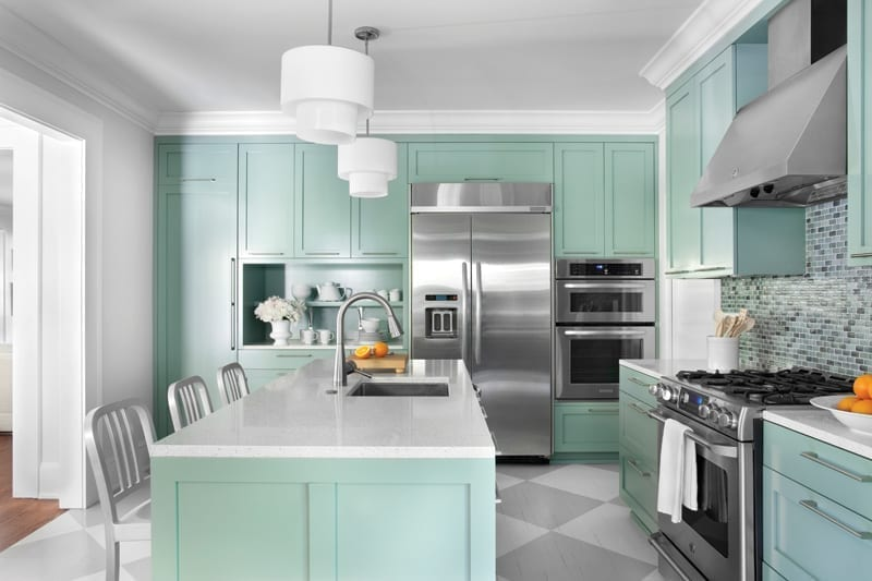 Kitchen remodel with color scheme color similar to Sherwin-Williams Aqueduct SW 6758