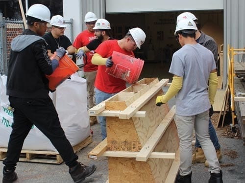 Young men working in construction