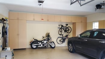 Custom 2 Car Garage Organization with storage for motorcycle and bicycles