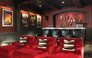 Elegant red and black home theatre