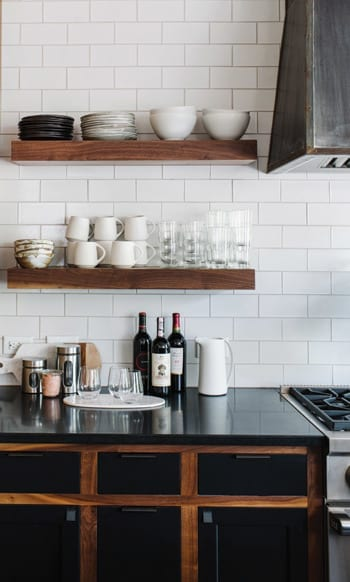 Kitchen with butcher block floating shelving