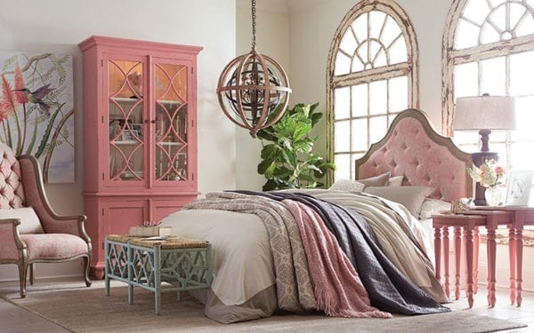 Beautiful bedroom with crafted furniture