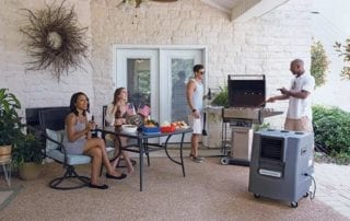 Portacool outdoor air conditioner keeps friends cool as they grill