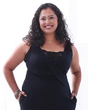 Beautiful woman in black jumpsuit