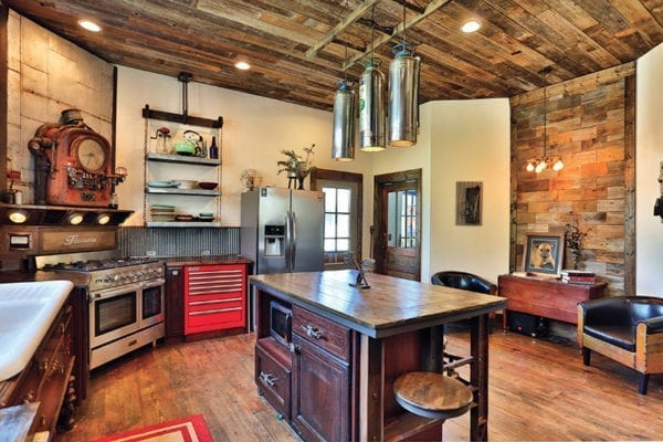 Kitchen with fire extinguisher pendant lights