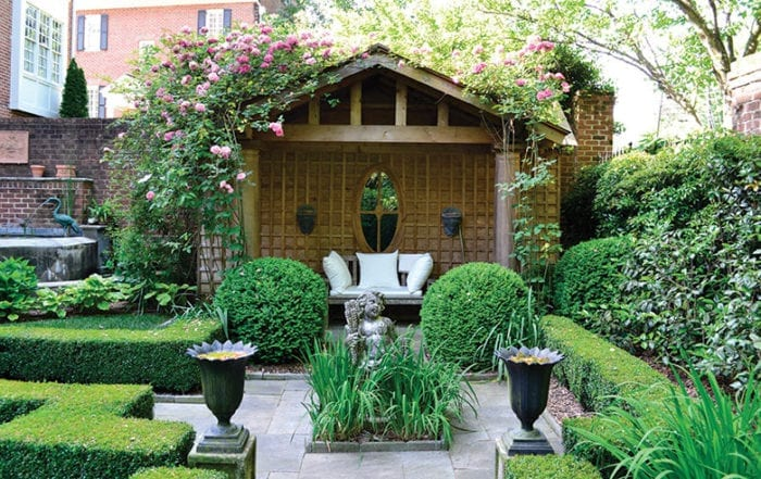 Relaxing and verdant outdoor space with gazebo