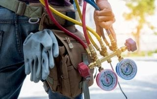 Make HVAC technician with equipment