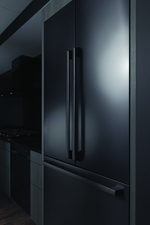 Refrigerator with black matte finish