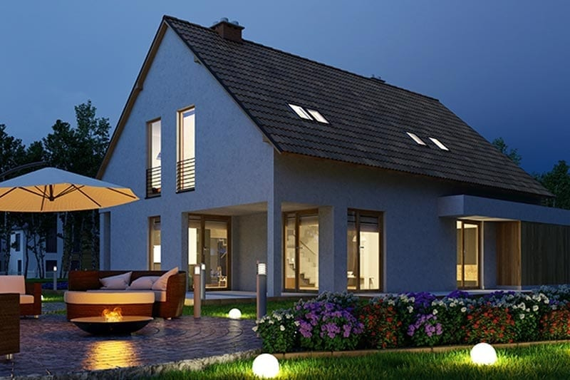 Night photo of Home with exterior lighting